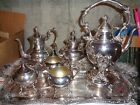 Eight Piece Antique Silver on Copper Tea Set With Tray