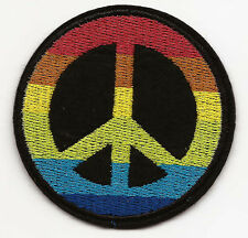 Rainbow Peace Symbol Embroidered Patch Iron-on Gay Pride Flag 6.4cm Good Luck