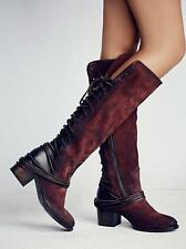 FAST SHIP! NWB FREEBIRD BY STEVEN COAL WINE SUEDE BACK LACE TALL BOOTS US 9