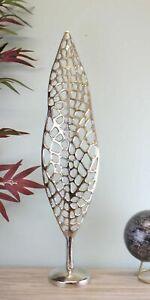 Silver Metal Skeleton Leaf Sculpture 70cm Ornament Home Decor Gift