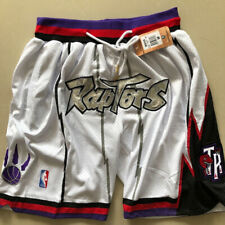 1998-99 Toronto Raptors White Shorts Pocket Zipper All sewn