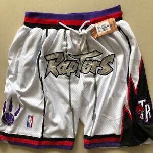 Vintage Toronto Raptors White Basketball Shorts Men's Pants NWT stitching