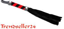 Peitsche 25 zügig weiches Velur Leder 25 cm Schwarz