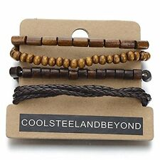 4 Different Brown Wrap Bracelets for Men & Women, Wood Beads Leather Wristbands