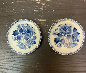 "2 DELFT Blue Dutch Royal  Porceleyne Fles Plate Wall Art Chrysanthemum 1923 4"""