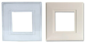 TWIN PACK Double Light Switch Finger Plate Socket Back Cover Surround White Clea