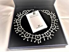Genuine SWAROVSKI Authentic PRINCESS Swan mark Necklace / Collar + DROP EARRINGS