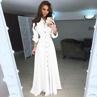 Women Casual Loose Button Long Shirt Dress Long Sleeve Evening Party  Dresses