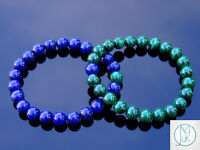 Couple Malachite/Lapis Lazuli Natural Gemstone Bracelet 6-9'' Elasticated Reiki