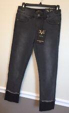19.69 Abbigliamento Sportivo SRL Italia Jeans Black Maria Crop NWT Versace Fade