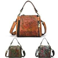 Retro Women Genuine Leather Handbag Embossed Flower Shoulder Crossbody Bag Purse