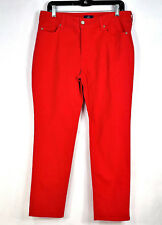 NYDJ Not Your Daughters Jeans Red Mid Rise Straight Leg Size 10