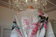 PERSONALISED SATIN BRIDE BRIDESMAID  WEDDING ROBE  DRESSING GOWN Embroidered