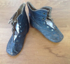 Antique Black Leather High 5 hole Lace up baby shoes early 1900 's