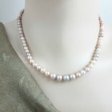 Round Freshwater Pearl Necklace White-Pink-Lavender Natural Pearl - 40 cm