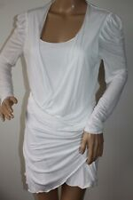 ALICE BY TEMPERLEY LADIES WHITE JERSEY LONG RUCHED TOP / DRESS SIZE UK 12