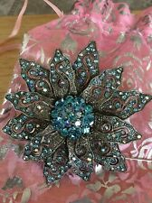 Light Blue Crystals Flower Fashion Pin With