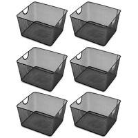 Ybm Home Wire Mesh Open Bin Basket Black 10 in. L x 9 in. W x 6 in. H 6 Pack