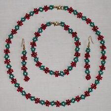 Open Poppy Beaded Necklace/Bracelet/Earrings Charity Jewellery Set