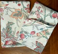 Pottery Barn PIllow Shams Floral Red Green Cream Cotton - English Country A Pair