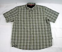 The North Face Mens Large Casual Shirt Green White Plaid Short Sleeve Vented