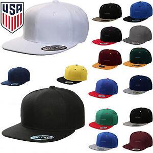 Baseball Cap Plain Snapback Adjustable One Size Trucker Hat New Flat Bill Black