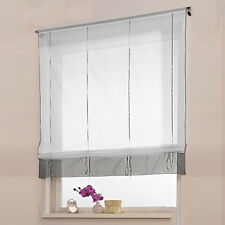 Modern Window Curtain Voile Liftable Roman Blinds Tap Top Sheer Kitchen Bathroom