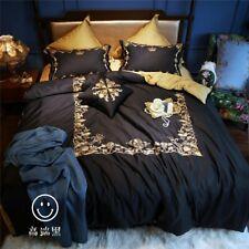Luxury European Black Gold Embroidery Bedding Set Egyptian Cotton Duvet Cover