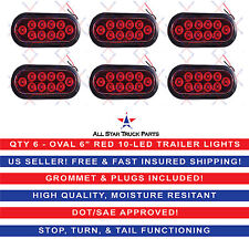 """(6) RED 6"""" Oval LED 10 Diode Tail Light w/Grommet & Plug/Pigtail Truck Trailer"""