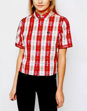 FRED PERRY  Multi Tartan  Rosso & White Short Sleeve Boxy shirt size 6