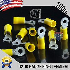 100 PACK 12-10 Gauge #8 Stud Insulated Vinyl Ring Terminals Tin Copper Core US