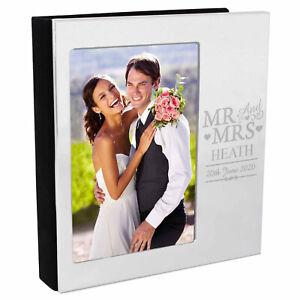 PERSONALISED 6 x 4 Mr And Mrs Aluminium Silver Photo Album Wedding Day Gift