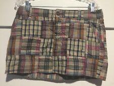Aeropostale Women's Mini Skirt 9/10 Plaid Patchwork 34 Waist 13 Length Pockets