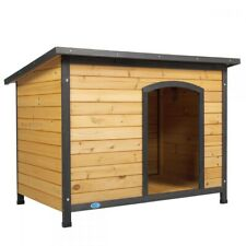 """43"""" Outdoor Deluxe Slant-Roofed Wood Large Dog Pet House Kennel w/Open Entrance"""