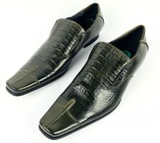 Zota Unique Mens Green Leather Dress Shoes Size 8 Alligator Pattern Brand New