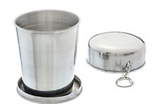 Collapsible Stainless Steel Cup W/ Hard Cover Camping Hiking Survival 4.7 oz