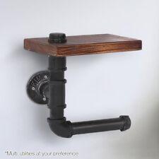 Bathroom Toilet Rustic Industrial DIY Floating Pipe Shelf Paper Holder