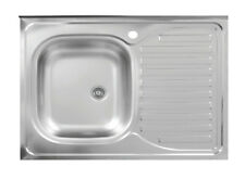 Edelstahl 1 Becken Küchenspüle Aufsatzspüle Küchen Spüle Spülbecken 80x60 cm