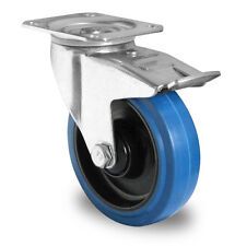 Blue Wheels Lenkrolle 200mm 400kg / Rolle Blaues Rad mit Feststeller Bremse NEU