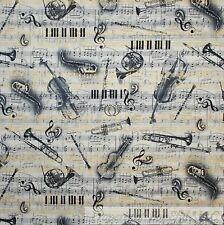 BonEful Fabric Cotton Quilt VTG B&W Gold Metallic Trumpet Xmas Music SALE SCRAP