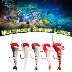Shrimp Lure 5 Colors Multi-Jointed Soft Shrimp Bait Luminous Shrimp Fishing Lure