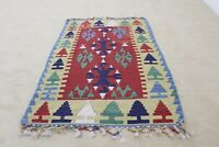 Vintage Turkish Kilim/Rug Hand Knotted 2.6x4 ft Tribal Colorful Oriental Carpet