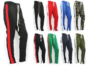 Men's Track Pants Hipster Side Stripe Drawstring Ankle Zip Gym Slim Fit
