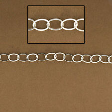 Flat Oval Cable Chain. Medium Size .925 Sterling Extender Chain.Wholesale 4284F
