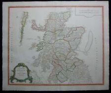 1751 Original Robert de Vaugondy Large County Map of Scotland Excellent Ecosse