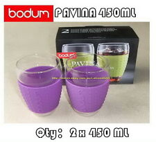 IN BOX BODUM PAVINA GLASSES WITH SILICONE SLEEVE x2 450ML (9 COLORS AVAILABLE)