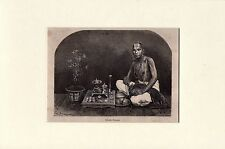 Antique woodcut print :India / portrait praying Brahmin man / Brahman 1871