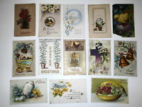 LOT OF 24 EASTER GREETINGS ANTIQUE  POSTCARDS CROSS CHICKS LILY JOYFUL  ETC