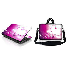 "15.6"" Laptop Computer Sleeve Bag w Shoulder Strap & Matching Skin Pink Heart"