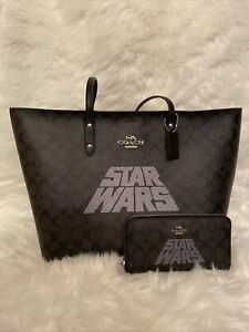 Women's Coach x Star Wars Tote Bag - Black Signature W/ Zip Around Wallet New!!!